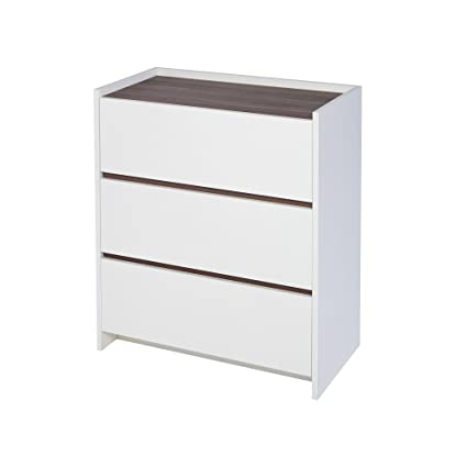 Gillmore Space Matt White et noyer laminé commode contemporaine