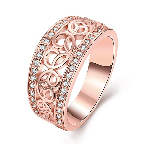 The Classic Pattern Carved Rose Gold Plated Ladies Cubic Zirconia Ring