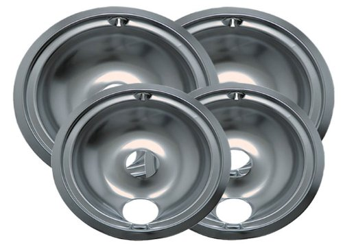 Range Kleen 11920-4X GE Drip Pans Containing 2 Units each 119A, 120A, Chrome (General Electric Drip Pans compare prices)