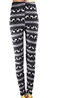 ECOSCO LEGGING Women's Fleece Multi-Style Nordic SnowFlake Reindeer Leggings