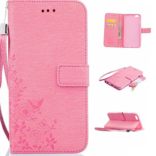 Samsung docomo Galaxy S7 edge ケース 手帳型ケース  おしゃれ 純色 TPU 花柄 カード入れ 財布カバー マグネット開閉式 スタンド機能 手帳ケースカバー (ピンク)