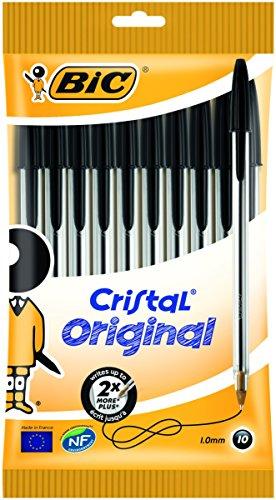 Bic Cristal Original - Bolígrafo de punta redonda, color negro, pack de 10 unidades