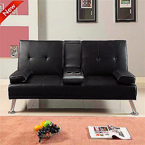 popamazing-faux-leather-folding-sofa-bed-with-cup-holders-black