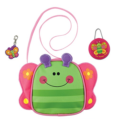 Stephen Joseph Little Girls Butterfly Cross Body Purse and Coin Holder with Zipper Pull