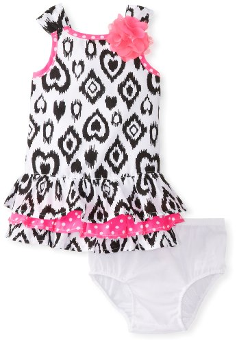 Kids Headquarters Baby-Girls Newborn Printed Dress With Pink 3-D Flower, Black/White, 3-6 Months front-972437