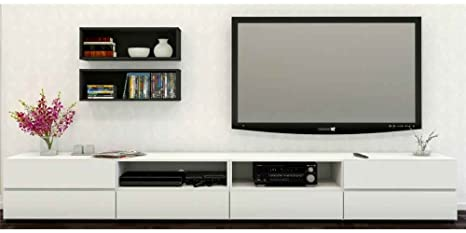 Modern TV Stand in White and Black