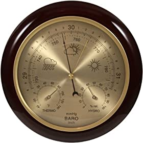 Ambient Weather WS-YG302 Cherry Finish Dial Traditional Barometer with Temperature and Humidity