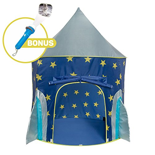 Rocket-Ship-Play-Tent-Spaceship-Playhouse-with-Bonus-Space-Torch-Projector-Toy