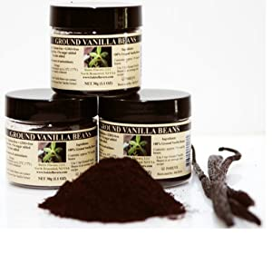 Bakto Flavors Ground Vanilla Beans from Papua New Guinea , Pack of 3-1.1 OZ