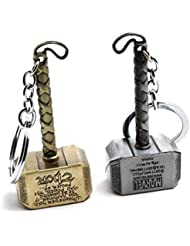MK Thor Hammer Marvel Avengers Superhero Metal Ring Key Chain (Pack Of 2)