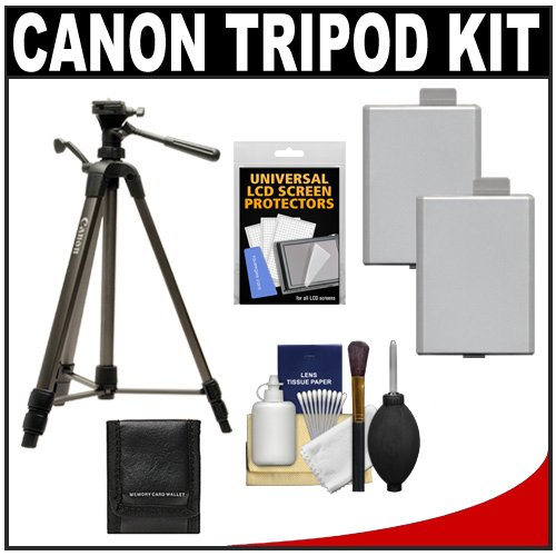 "Canon 62"" Deluxe Photo/Video 300 Tripod With 3-Way Panhead & Case + (2) Lp-E5 Batteries + Carrying Case + Kit For Eos Rebel Xs, Xsi, T1I Digital Slr Cameras"
