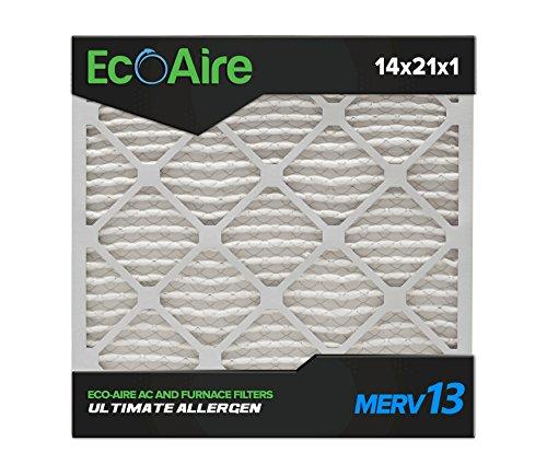 Eco-Aire 14 x 21 x 1 Premium MERV 13 Pleated Air Conditioner Filter, Box of 6