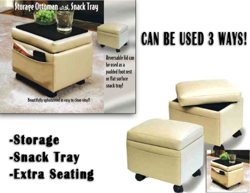 Storage Ottoman With Snack Tray Neutral (Can Be Used 3 Ways! 12