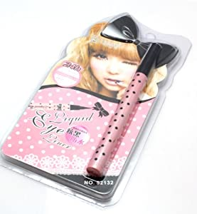 #52132 Cute Black Slim Liquid Eyeliner Pink Bowknot Dot Design Pencil Makeup Cosmatics