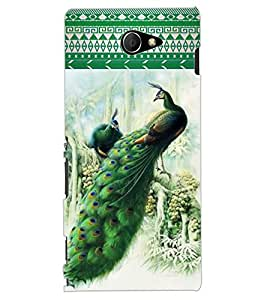 ColourCraft Beautiful Peacocks Design Back Case Cover for SONY XPERIA M2