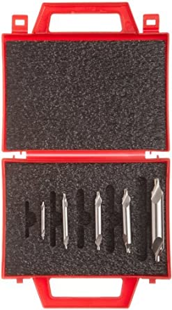 Magafor S115 5 Piece, 2 Flute, 60 Degrees Cutting Angle High-Speed Steel Uncoated (Bright) Combination Center Drill And Countersink Bit Set With Double End