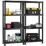 VonHaus 4 Tier Garage Shelving Unit with Wall Brackets (Pack of 2) - Heavy Duty Black Plastic Interlocking Utility Storage Shelves - Each Unit: 52 x 24 x 12 inches