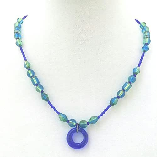 a cobalt blue geometry necklace everyday