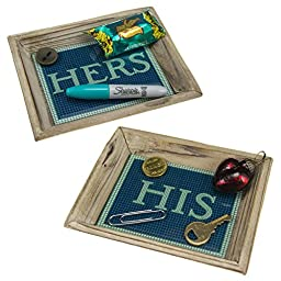 His & Her Subway Tile Mini Accent Valet Trays Floating Circus For Keys Coin Ring Home Decoration