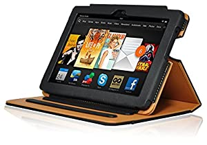 InventCase Amazon Kindle Fire HDX 7 Tablet (7-Inch) 2013 Smart Multi-Functional Leather Book Case Cover with Sleep Wake Function - Black and Tan