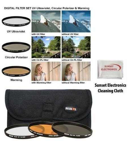 Sunset Electronics 72MM 3-Piece Ultra Slim Pro Aspherical Glass Filter Set, UV Ultraviolet, Circular Polarizing and Warming with Pouch