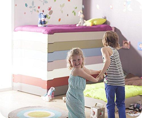 Machambredenfant - Pack Lit Enfant Empilable Rouge Basque 90x190 cm avec sommier et Matelas