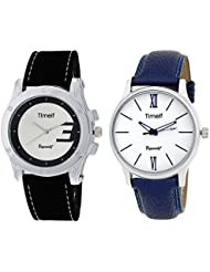 Timelf Combo Of Two Analog Round Dial Casual Men Wrist Watch In Silver Case And Leather Strap - B01KZDYGJ2