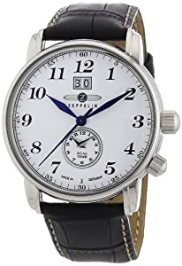 Zeppelin Men's Dual Time Watch 76441 With Big Date And White Dial