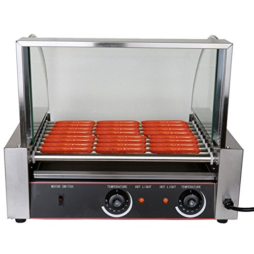 Ridgeyard 1800w Commercial Portable 24 Hot Dog 9 Roller Stainless Steel Grilling Machine 24 Hot Dog Maker with Cover Ideal for Business Home Use (Hot Dog Roller Grilling Machine compare prices)