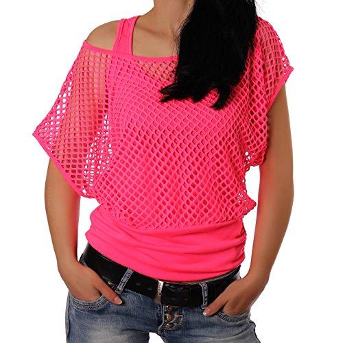 Damen netzoberteil sommertop partytop in versch farben pink for 90er outfit damen