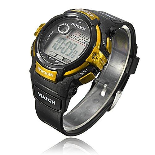 New Fashion Waterproof Boy'S Digital Led Quartz Alarm Date Sports Wrist Watch (Golden..)
