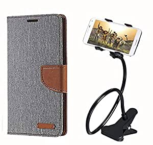 Aart Fancy Wallet Dairy Jeans Flip Case Cover for MicromaxQ380 (Grey) + 360 Rotating Bed Moblie Phone Holder Universal Car Holder Stand Lazy Bed Desktop by Aart store.