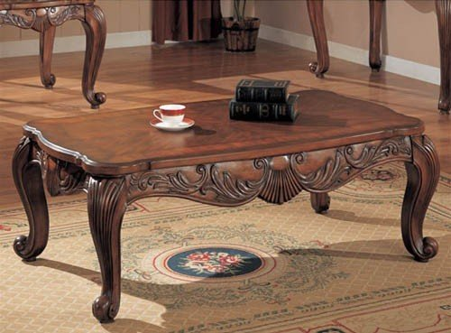 Coffee Table With Shell And Leaf Design Deep Brown Finish