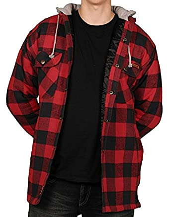Farmall IH Men's Quilt Lined Flannel Hoodie 3 Red/Black L