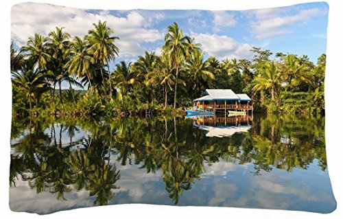 Microfiber Peach Standard Soft And Silky Decorative Pillow Case (20 * 26 Inch) - Landscapes Lake Boat Lodge Palms Sky Clouds front-829770
