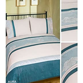 Blue Aura Design Embroidered Quilt/Duvet Cover Bedding Set (200 Thread Count)