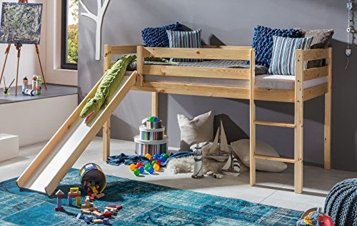 Kinderbett-Hochbett-mit-Rutsche-TIMO-ERNA-Leiter-Spielbett-Kiefer-Massiv-Wei-oder-Natur-Natur-mit-Rollrost