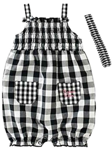Calvin Klein Infant Girls White & Black Checkered Plaid Romper Creeper Outfit