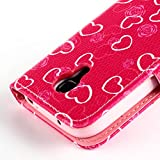 Fashion Youth Series Cute Design Rose Pink Love Heart Bow Bowknot Wallet Flip Case Folio PU Leather Stand Cover with Card Slots for Samsung Galaxy S4 Mini i9190 + Free Lovely Gift