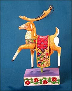 Jim Shore - Heartwood Creek - Dash Away Reindeer Red Blanket Figurine by Enesco - 118112