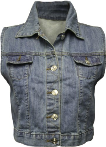 New Ladies Blue Denim Waistcoat Womens Sleeveless