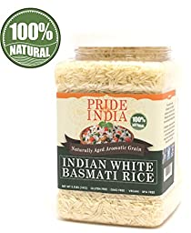 Pride Of India - Extra Long Indian Basmati Rice, Naturally Aged Aromatic Grain, 2.2 Pound (1 Kilo) Jar