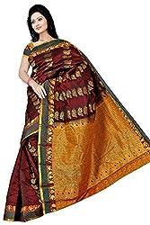 Pawan Tex kancheevaram silk sree for women's (silk12_maroon)