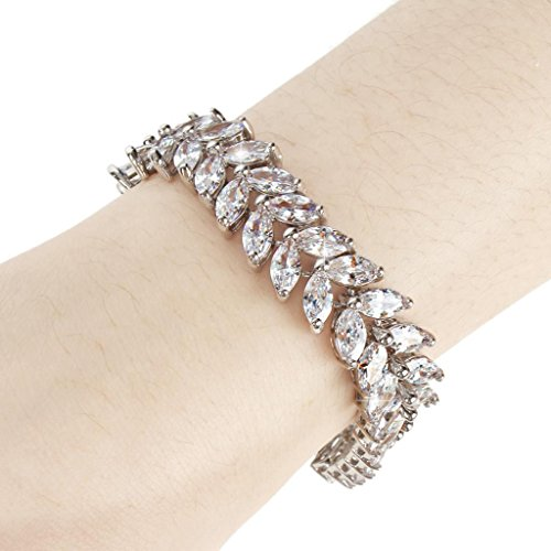 EVER FAITH Silver-Tone Full Cubic Zirconia Prong Shining Leaves Wedding Bracelet Clear