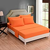 Honeymoon Super Soft Breathable Embroidery Wrinkle Free Fade-resistant No-ironing 6PC Bedding Sheet Set Full/Queen/King, Deep Pockets, Easy Care - Orange,Queen
