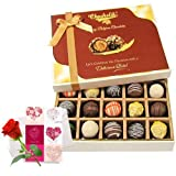Valentine Chocholik's Belgium Chocolates - Lovely Truffles Collection With Love Card And Rose