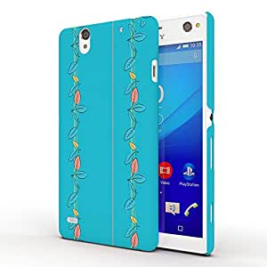 Koveru Designer Printed Protective Snap-On Durable Plastic Back Shell Case Cover for SONY XPERIA C4 - Skyblue Florals