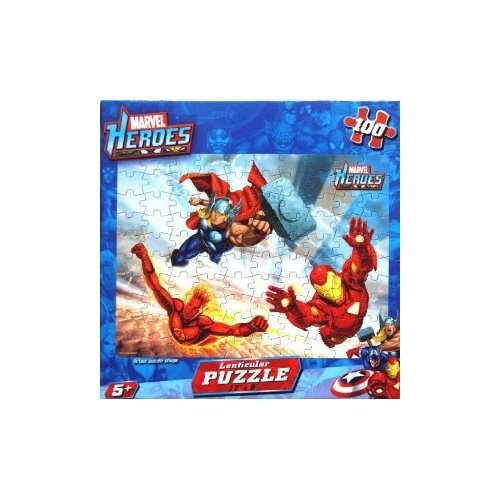 "MARVEL HEROES Lenticular Puzzle 100 Piece (Size 12"" X 9"") - 1"
