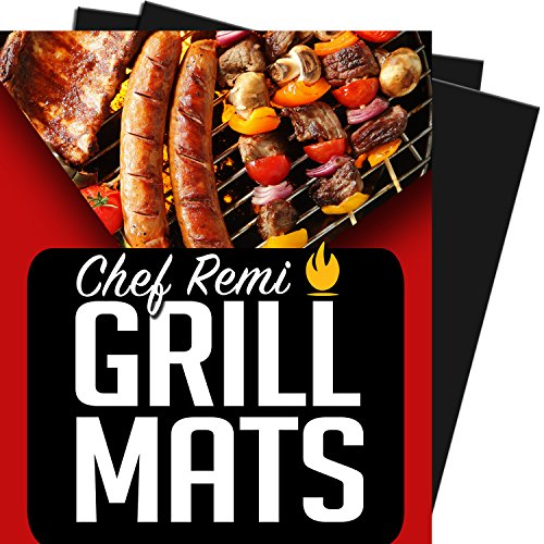 Chef Remi BBQ Grill Mat - Lifetime Replacement Warranty - Set Of 2 Heavy Duty, Non-Stick Grilling Mats - 16 x 13 Inch - Use on Gas, Charcoal, Electric Barbeque, Oven or Smoker (Bbq Mate Grill Set compare prices)