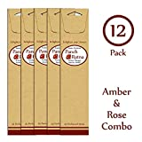 Panchratan Perfumed Charcoal Incense Sticks ( Pack Of 12, 23cms, Amber And Rose Fragrance )